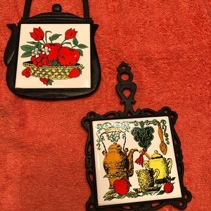 Two Vintage Ceramic and Cast Iron Trivets